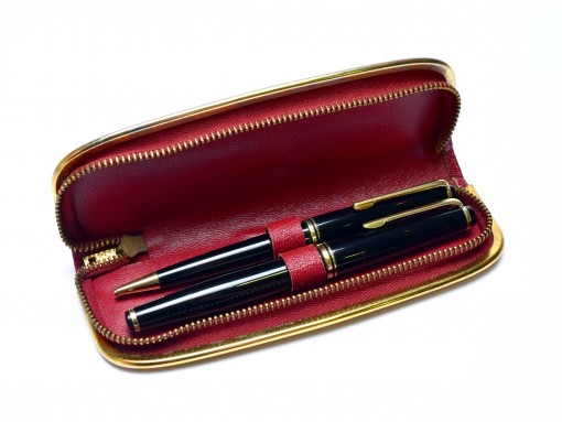 1960s KAWECO V61 EF Masterpiece Black Resin 14K Fully Flexible Nib Fountain Pen & 817 Mechanical Pencil in Leather Pouch