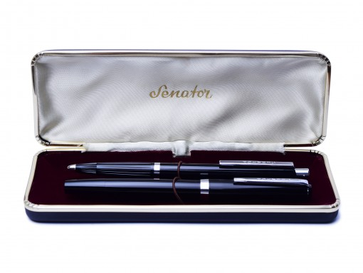 Senator 140 Black Resin Fountain Pen & Ballpoint Pen Set in Box