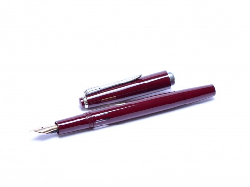 NOS Reform Germany 4328 Round Burgundy Bordeaux Maroon Red & Chrome 14K Gold Super Flex EF to BB Nib Fountain Pen