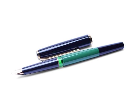 Rare 1970s Pelikan 120 Type III Series 3 Black & Green Gold Plater EF Nib Piston Fountain Pen