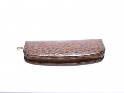 Vintage High Quality Brown Genuine Leather Crocodile Skin Pouch Case for 2 Fountain/Ballpoint Pens & Pencils