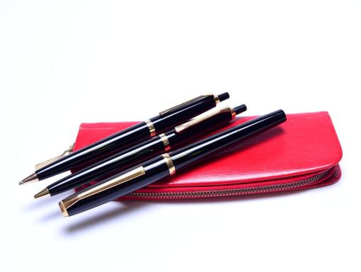 Pelikan 30 (M30) Rolled Gold 18K 750 HF Nib Fountain Ballpoint Pencil Pen Red Pelikan Pouch