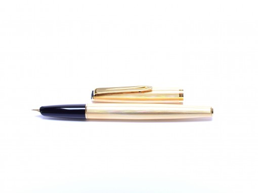 1980s AURORA 98 Solid Sterling 925 Silver - Gold Plated - Vermeil 14K EF Gold Nib Cartridge Fountain Pen