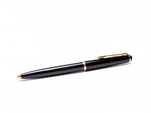 "1960s MONTBLANC No.38 Black Resin & Gold Lever Mechanism 11th ""Eleventh Finger"" Ballpoint Pen w/ Refill"