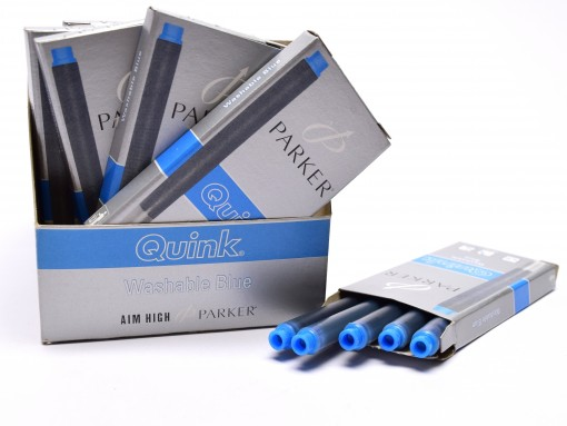 New Authentic Original Made in France PARKER QUINK Fountain Pen Ink Cartridges Refills Reserve Long Large Size - WASHABLE BLUE - Pack of 5