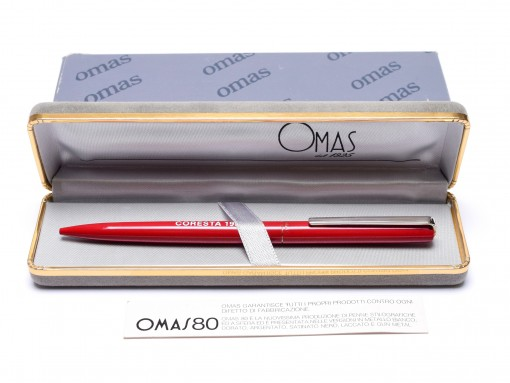 1970s Omas 80 Red Steel Twist Mechanism Ballpoint Vintage Pen In Box With New Refill