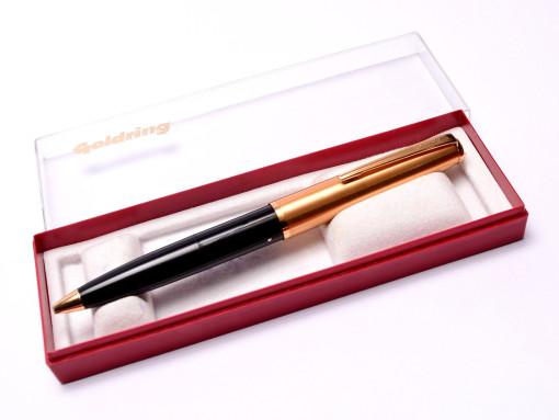 Vintage Goldring Black & Gold Plate Chrome Address Stamp Ballpoint Pen in Box