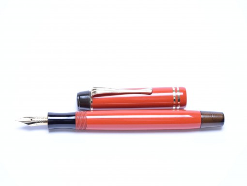 1938 Original SIMPLO Montblanc Masterpiece Meisterstuck Coral Red No.2 #2 Nib Denmark Push Button Fountain Pen
