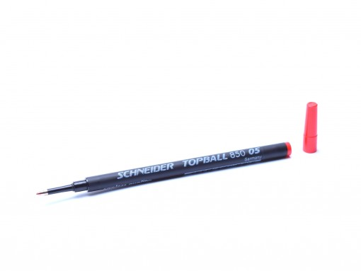 New Schneider Topball 850 05 / 811 European Euro Size Red Rollerball Pen 0.5mm Anti-Dry Refill Made in Germany 4004675085023