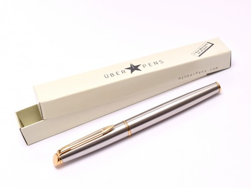 1990s Waterman Hemisphere France Matte Brushed Stainless Steel & Gold Cartridge/Converter M Medium Nib Fountain Pen