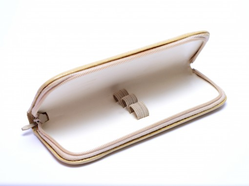 Vintage High Quality MEGA Leather Beige/White Pouch Case for 3 Fountain Ballpoint Pens & Pencils