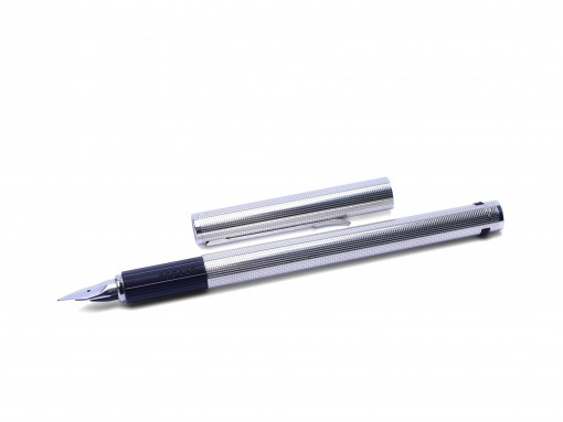 AURORA Hastil Solid 925 Sterling Silver Cicele Square Checkered Pattern 14K EF Nib Cartridge Fountain Pen