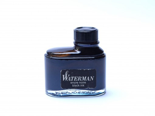 Very Rare Vintage 60's WATERMAN France Fountain Pen Ink in Glass Bottle Container Black