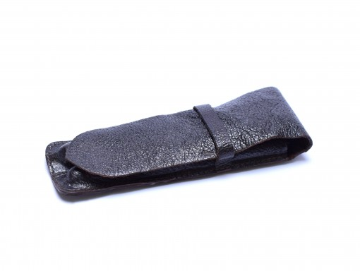 Vintage High Quality Genuine Soft Brown Leather Sleeve Pouch Case for 2 Fountain/Ballpoint Pens & Pencils