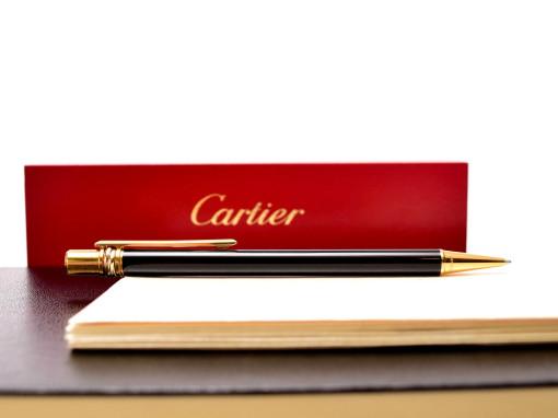 Must de Cartier Trinity Ring Balck Lacquer 18K Gold Plated Trimmings Twist Mechanism Ballpoint Pen