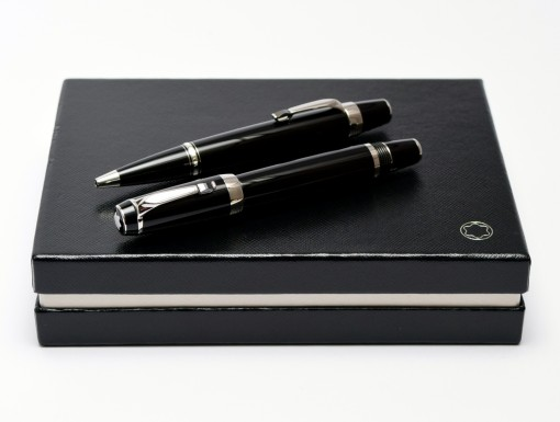 2000 Montblanc Boheme/Bohème NOIR Black Resin & Onyx Gemstone Platinum 14K White Gold Safety Fountain & Ballpoint Pen