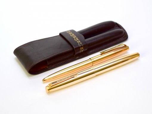 Stunning 1960s BOLASCRIP Germany Walzgold (Rolled Gold) 14K B Broad Nib Fountain & Ballpoint Pen Set in Leather Pouch