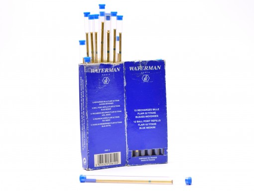 Original NOS Blue WATERMAN Titan/TITANE FLAIR 52 CF C/F Style Slim Long Ballpoint Metal Refill F/M Made in France (For Vintage Pens BF3366374)