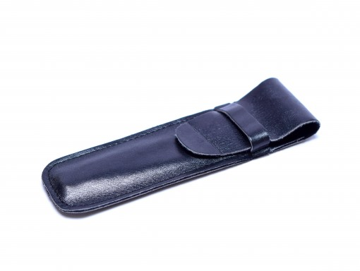 Vintage High Quality Genuine Soft Black Leather Sleeve Pouch Case for 1 or 2 Fountain/Ballpoint Pens & Pencils