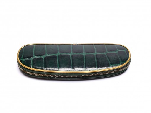 Vintage Pelikan Green & Gold Croco Pattern Genuine Leather Zipper Pouch Case Pen Holder for 2 Fountain Rollerball or Ballpoint Pens