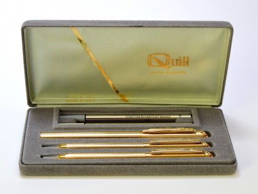 Made in USA 1980s Quill Gold Plated Rollerball Ballpoint & Mechanical Pencil Set in Box