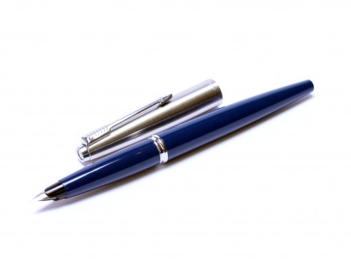 1960s Made in USA Parker 45 Student Dark Navy Blue & Steel F Nib Fountain Pen With Original Converter