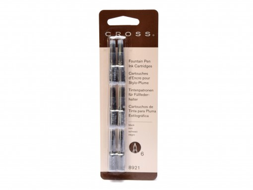 New Authentic Genuine CROSS 8921 6 Pack Black Noir Proprietary Fountain Pen Ink Cartridges Refills 073228089218