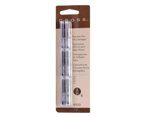 New Authentic Genuine CROSS 8920 6 Pack BLUE Noir Proprietary Fountain Pen Ink Cartridges Refills 073228089201
