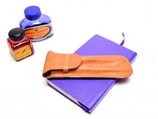 Vintage Handmade Thick Genuine Leather Camel Brown Pouch Case for 2 Fountain Rollerball Ballpoint Pens