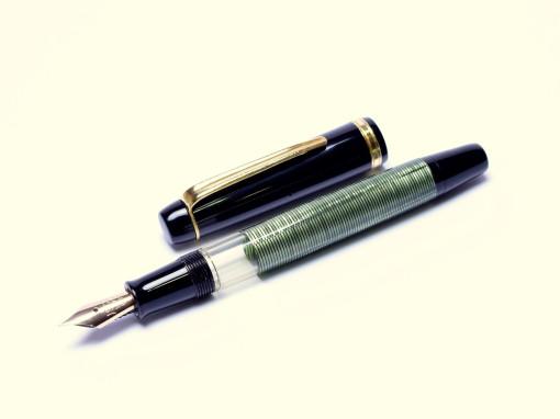 Vintage 991 TOZ Penkala Croatia Green Celluloid Piston Super Flexible EF to 3B 14K 585 Nib Fountain Pen