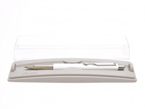 Original 2005 T.III Y NOS PARKER Vector Made in UK Classic White 0.5mm Mechanical Pencil with Eraser in Box