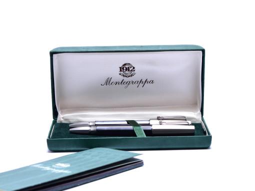 Limited Edition 2002 Montegrappa Tecn@ (Techno) Carbon Fiber & Titanium 18K 750 Gold Nib Fountain Ballpoint Data Pen & PDA Set