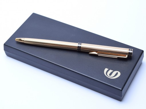 1980 Rare Oversize Waterman Executive Godron 18K Gold Plated Ballpoint Pen In Box