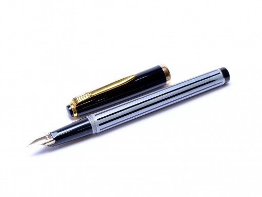 Rare Unique 1980s Reform Germany Black & Grey Striped Special 14K 585 KEF Nib Cartridge Fountain Pen