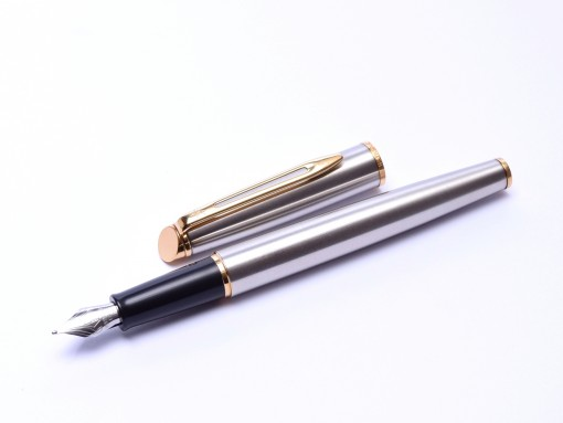 Waterman Hemisphere France Brushed Stainless Steel Fountain Pen