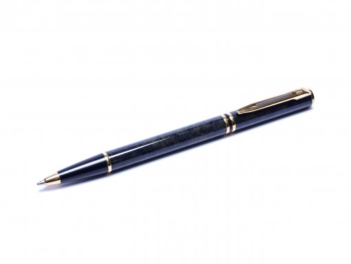 1990s WATERMAN Lauréat/Laureat Grey Marble & Gold Trim Ballpoint Pen Made in France