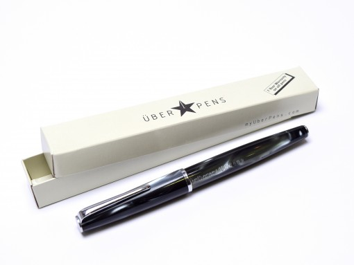 1960s Celluloid Deep Pearl Blue-Grey CENTROPEN No. 10016 632 Czechoslovakia Piston F Nib Fountain Pen
