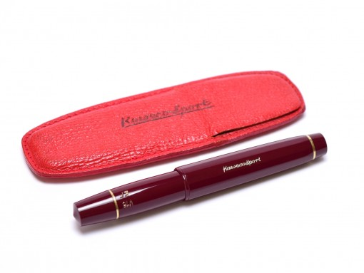 Burgundy Maroon Red Pocket Size KAWECO Sport V16 EF 14K Gold Nib Fountain Pen in Red Leather Pouch