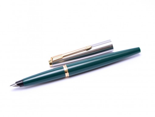 Made in USA PARKER 45 Teal Green & Brushed Steel F Nib Fountain Pen with Bladder Converter