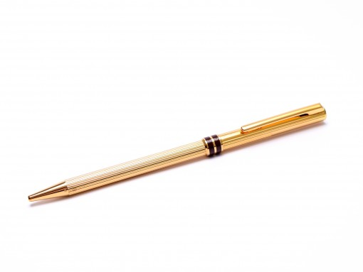 1980s Vintage Aurora Marco Polo Solid Sterling 925 Silver Gold Plated Vermeil Godron Lines Slimline Ballpoint Pen