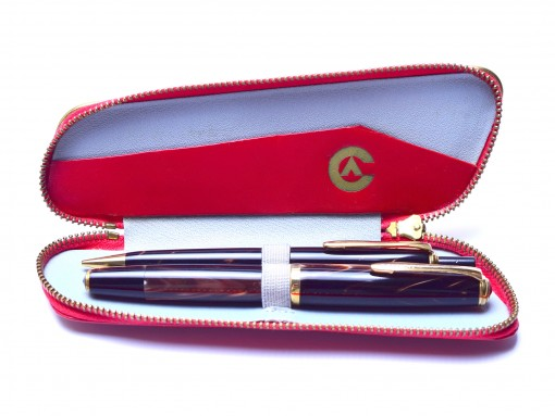 1960's Stunning Oversize Celluloid Deep Pearl Brown CENTROPEN Super Flex 14K Nib Fountain Pen & Pencil Set In RED Leather Pouch