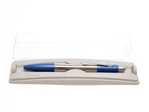 Rare Made in UK 2002-2005 NOS Heavy Stainless Steel PARKER Dimonite Prussian Dark Blue Ballpoint Pen in Box