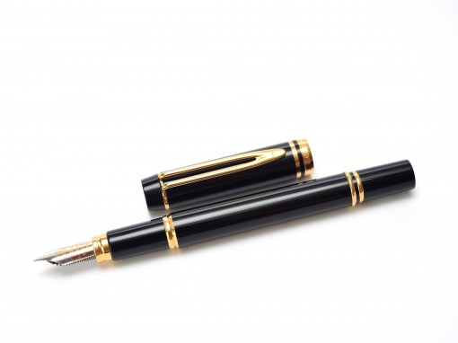 Waterman Ideal Le Man 100 Gold, Lacquer and Black Resin Fountain Pen 18K 750 Gold M Medium Nib
