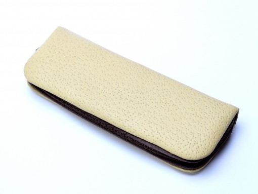 Vintage High Quality Faux Leather Beige & White Pouch Case for 3 Fountain or Ballpoint Pens