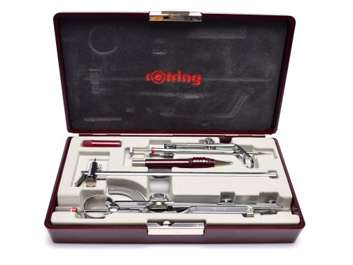 NOS Vintage Rotring Professional Chrome Plated 5 Pieces Compass Set in Original Box
