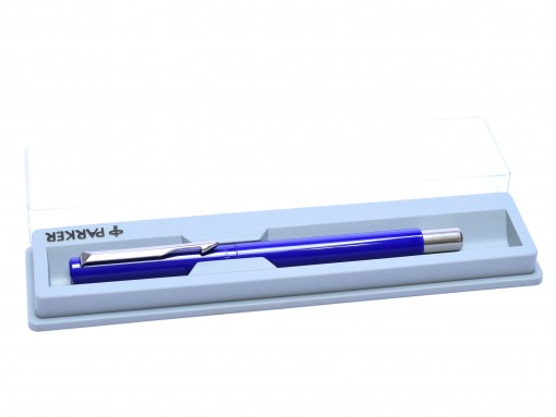 The Original NOS 2002 A.III PARKER Vector Made in UK Classic Purple Blue & Matte Steel Rollerball Pen in Box