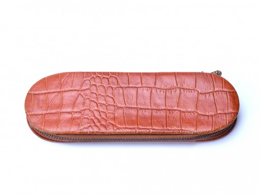 Vintage Rare MONTBLANC Crocodile Skin Brown Leather 2 Pen Pouch Case