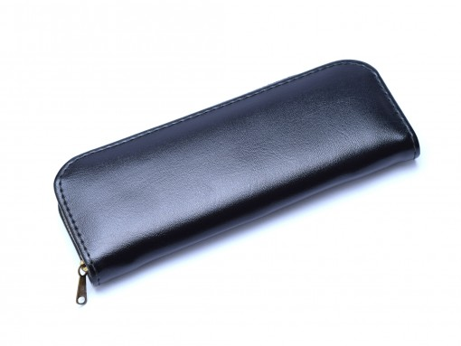 Vintage High Quality Genuine Leather Black & Red Pouch Case for 2 Fountain or Ballpoint Pens