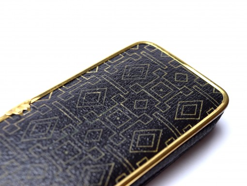 Vintage Lady High Quality Genuine Black Leather Steel Gold Plate Frame Pouch Case for 3 Fountain / Ballpoint Pens