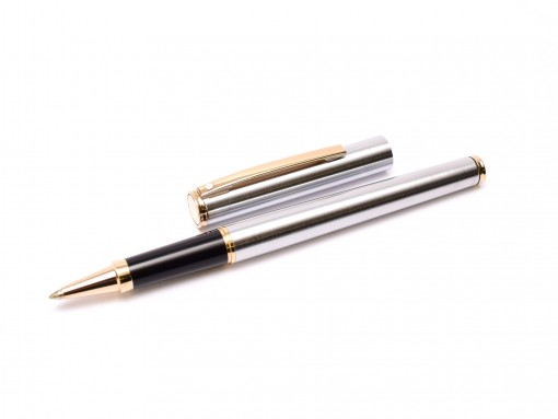 Sheaffer Fashion 240X-1 Brushed Chrome & Gold Plated Trim Rollerball Pen Made in USA